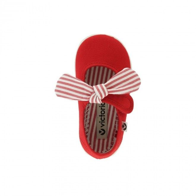 Sapato Victoria Laço Criança Vermelho Lona 05110