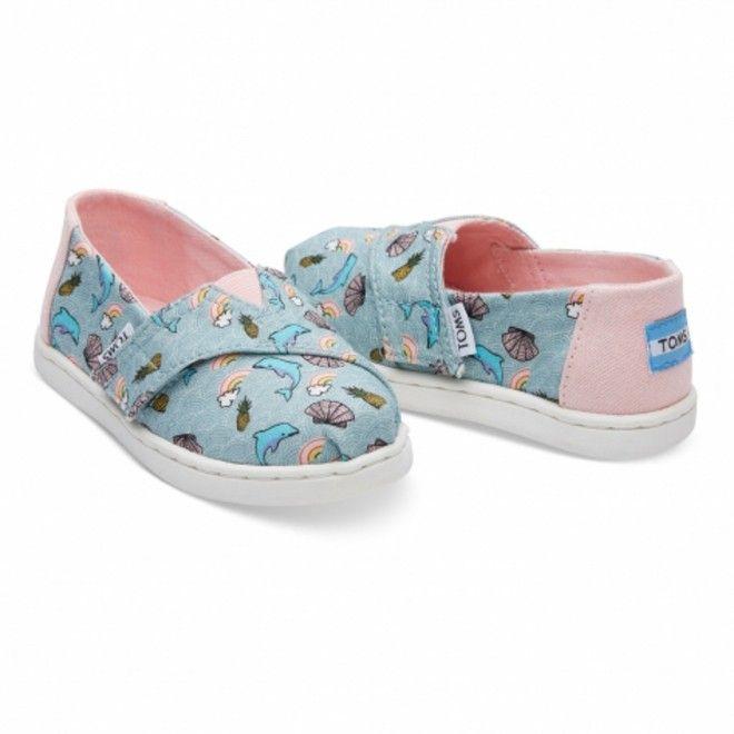 Alpercatas Toms Seaglass Criança Feminino Azul Algodão 10011450