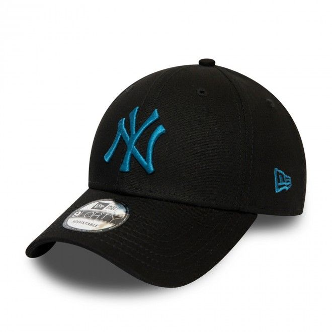 Boné New Era New York Yankees League Essential Blue Logo Black 9Forty Cap 12490478