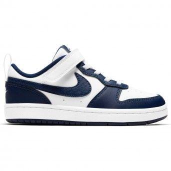 Sapatilhas Nike Court Borough Low 2 Rapaz Branco Azul Pele BQ5451-107
