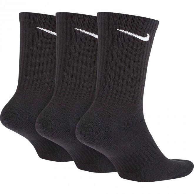 Meias Nike Everyday Cushioned Training Crew Socks (3 Pares) Unisexo Preto Malha SX7664-010
