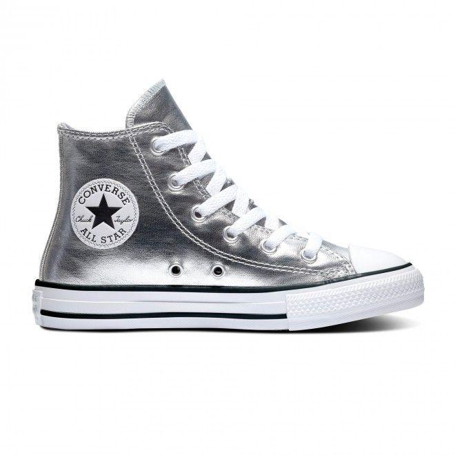 Botas Converse Chuck Taylor All Star Metallic Canvas Criança Feminino Prateado Lona 670179C