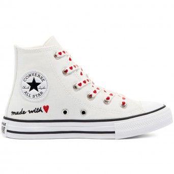 Sapatilhas Converse Chuck Taylor All Star High Top Criança Rapariga Branco Lona 671125C