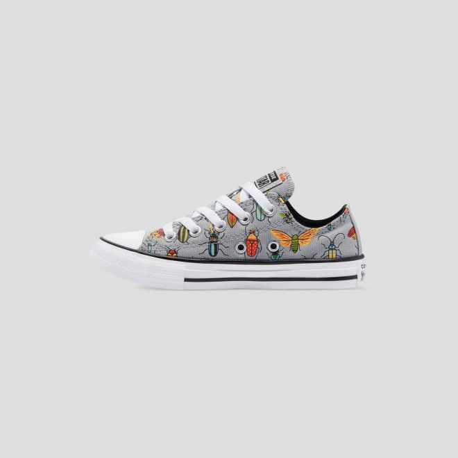 CONVERSE CHUCK TAYLOR ALL STAR JUNIOR BUGGED OUT LOW TOP ASH STONE 670705
